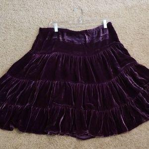 BCBGMaxaziria purple velvet skirt